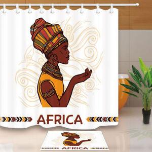 American African Shower Curtain for Bathroom Arican Afro Woman Bath Curtains