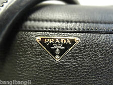 Prada Black Distressed Leather Lady Braid Flap Bag 100% Authentic