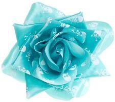 SKULLS CROSSBONES AQUA Rose Hair Clip SOURPUSS ROCKABILLY GOTH PSYCHOBILLY PINUP