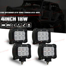 "4PCS 18W 4""INCH LED WORK LIGHT BAR FLOOD BEAM OFFROAD ATV JEEP TRUCK CAR 4WD SUV"