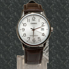Casio Mens Analog Silver Brown MTP-V002L-7B2 Leather Band Date Display Watch New