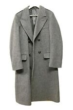 Vtg Mens Stratojac Charcoal Gray Wool Overcoat Trench Coat Size 38