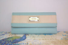 Nine West Trifold Checkbook Wallet  Light Dusky Blue with White Stripe NWT