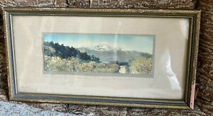 VINTAGE STANDLEY HAND TINTED PHOTO SIGNED ORIGINAL FRAME PIKES PEAK SMALL