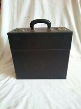 "Vintage Black Mock Leather Vinyl Record Case 12"" LP Storage Box Lockable Retro"