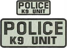 police k9 unit embroidery patches4x10and2x5hook on back blk/white