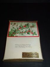 Vintage Norcross Christmas Holiday Greetings Cards Holly Pinecone Unused