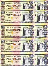 Wholesale Lot, Guyana, 10 x 20 dollars, 1996, P-30, UNC