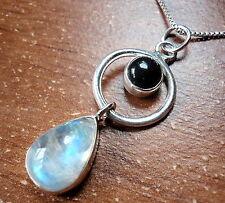 Black Onyx & Rainbow Moonstone Pendant 925 Sterling Silver Round Pear Hoop New