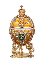 Decorative Faberge Egg Trinket Jewel Box Russian Emperor Crown 3'' 7.5cm yellow