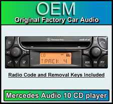 Mercedes SLK Audio 10 CD player, Merc R170 car stereo + radio code and keys
