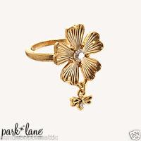 Park Lane GARDENIA RING - Gold Flower & Swarovski Crystal  Size 6 NWOT