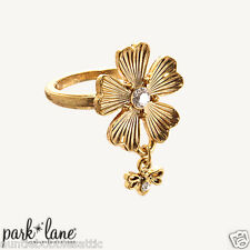 Park Lane GARDENIA RING - Gold Flower & Swarovski Crystal  Size 6 NWOT