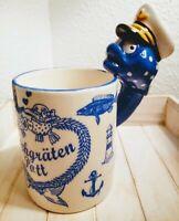 Maritimer Pott mit originellem Henkel Kaffeetasse Teetasse Porzellan 10x8cm