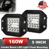 "2PCS 5"" LED Work Light Bar Flush Mounting Combo Beam Universal Off-Road Driving"