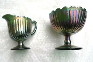 Vintage Carnival Glass green Creamer/Jug with matching bowl rare item  Fenton?