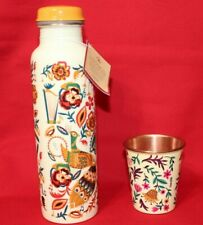 Copper Sipper Bottle with cup- Beautiful peacock Print- 900ml