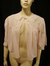 60s VINTAGE PINK RAYON BED JACKET CRYSTAL PLEATS S-M