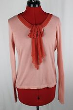 Anthropologie Guinevere Coral Sheer Chiffon Bow LS Womens Sweater Top Large