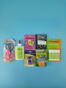 School Supplies Lot For Elementary School Scissors Glue Erasers Crayola Crayons