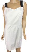 Drew White Denim Sheath Dress Size 10 Sleeveless Black Faux Trim on Straps