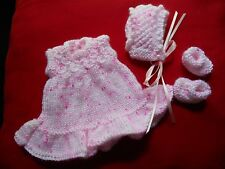 "Doll Clothes Hand-knit Vintage Style Pink Dress Fits 8"" Berenguer Heidi Ott"
