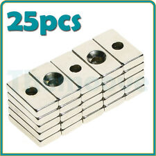 25 x N35 Strong Magnet 10 x20 x 4mm Countersink Hole 5mm Rare Earth Neodymium UK