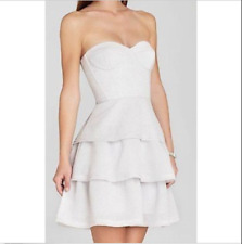 """BCBG NWT """"Jacklyn"""" Light Gray/Pearl Strapless Flare Party Dress New 6 EXN6Z742"""