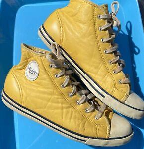 Vintage Calvin Klein Sport Leather High Top Sneakers Mustard Yellow Men's Sz 7.5