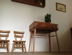 Rare Ercol 437 Side Table Writing Desk, English Elm & Beech. Blue Label 1959-62.