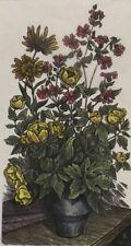 """"""" fleurs dans pot nature morte """" GRAVURE SUR BOIS color. signé dat."""