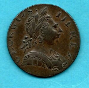 1774 KING GEORGE III HALFPENNY COIN. NON REGAL COPPER 1/2d. 8.9 GRAMS.