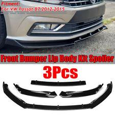 For VW Passat B7 2012-2015 Gloss Front Bumper Lip Body Kit Spoiler Splitter 3PCS
