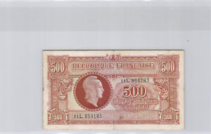 """Treasure 500 Francs """" Marianne """" Type 1945 Series THE / OF N° 11L854183 Pick 106"""