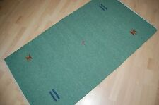Design Kelim Tapis laine tissé à la main vert 150x90 1-600 cm handmade kélim