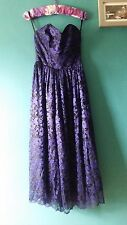 Vintage Dress - Black & Blue. Size 8. Ex+. Floral. Boned. Strapless. Lace