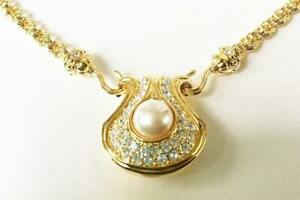 Nolan Miller Rhinestone Pearl Pendant with 2 interchangeable chains