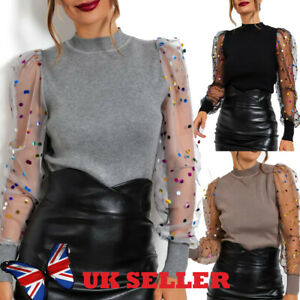 UK Womens Mesh Long Sleeve Lace Tee Ladies Jumper Shirt Party Pearls Blouse Tops