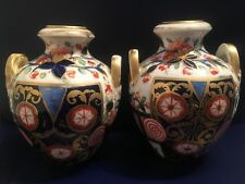 An early Pair of Royal Crown Derby twin handle 1806-1825 antique vases