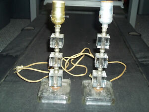 Pair Vintage Mid Century Clear Stacked Lucite Table Lamps Hollywood Regency Cube