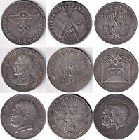 Exonumia set of 9 token Germany. third Reich. Adolf Hitler.