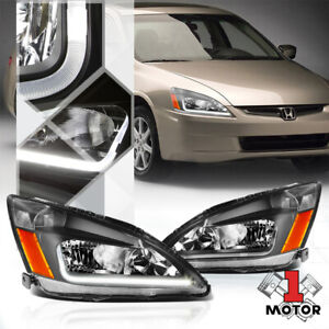 Black Housing Headlight LED Running Light Amber Signal for 03-07 Honda Accord