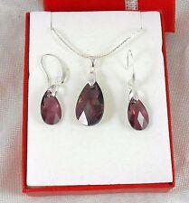 Swarovski Kristallen Ohrringe Halskette Set  Silber 999 Reinheit plattierte LS