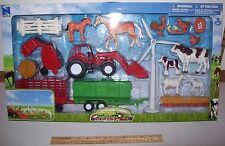 New Ray Super Farm set = 1/18 Animals & Accessories w/Tractor. Trailer and MORE!