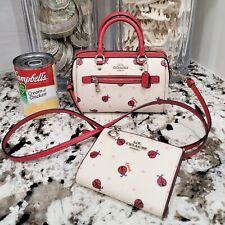 Coach Ladybug Micro Rowan Crossbody Bag Purse w/ Matching Wallet Set of 2 EUC
