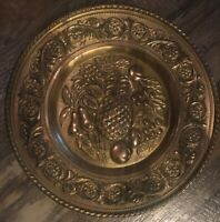Vintage Brass Embossed Wall Hanging Plate Pineapple & Fruits Made In England
