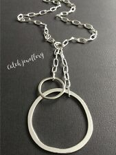 Silver Paperclip Chain Choker Necklace With A Big Multi Circles Hoops Pendant