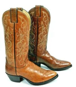 JUSTIN 23912 Light Brown Leather Western /womens Boots SZ 6.5 D