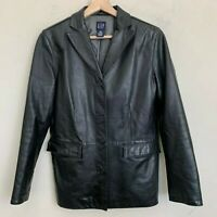 GAP Womens Black Leather Jacket Button Front Flap Pockets Lined Size S