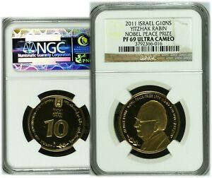 2011 Yitzhak Rabin 10 New Sheqalim Israel Gold Coin NGC PF69 Ultra Cameo Top Pop